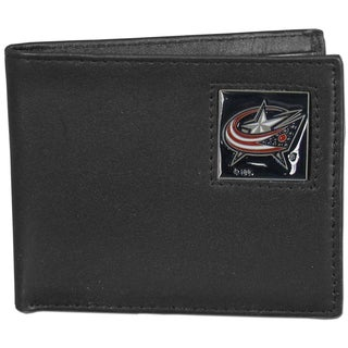 NHL Columbus Blue Jackets Leather Bi-fold Wallet in Gift Box