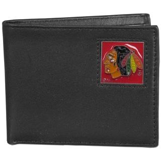 NHL Chicago Blackhawks Black Leather Bi-fold Wallet in Gift Box