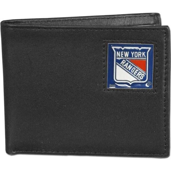 NHL New York Rangers Black Leather Bi-fold Wallet in Gift Box