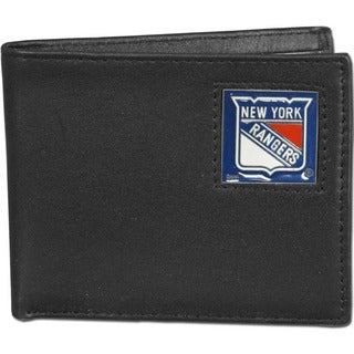 NHL New York Rangers Black Leather Bi-fold Wallet in Gift Box