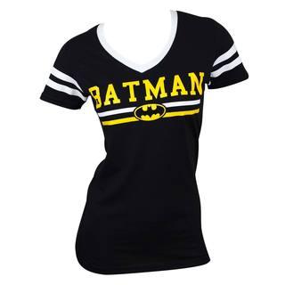 Women's Batman Logo Black Cotton Varsity V-neck T-shirt