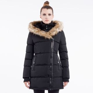 Noize Women's Asymmetrical Faux Fur-Trimmed Zip Coat