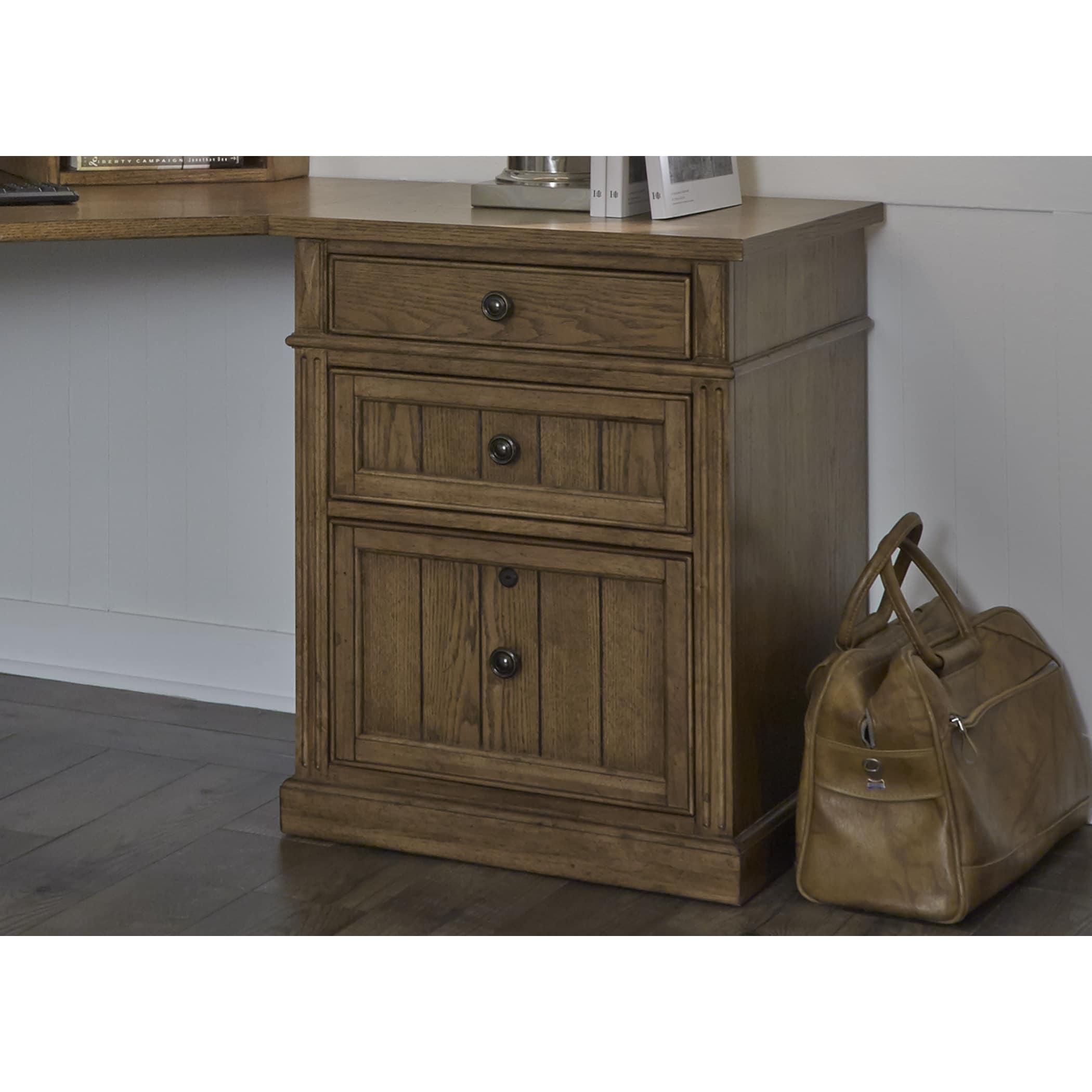 Liberty Cumberland Rustic Oak 24 Inch 3-Drawer File Cabin...
