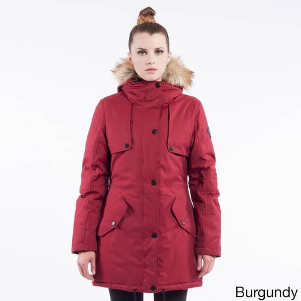 Burgundy Parka Coat Womens