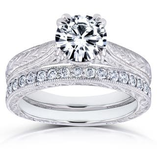 Annello by Kobelli 14k Gold 1ct Round Forever One Moissanite and 1/3ct TDW Diamond Cathedral Bridal Set (GH, I1-I2)|https://ak1.ostkcdn.com/images/products/13471352/P20158566.jpg?impolicy=medium