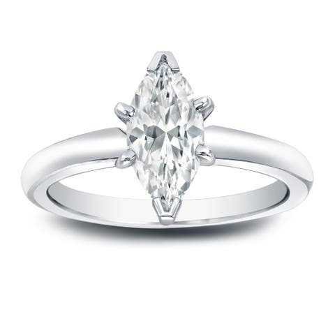 Auriya 1ctw Solitaire Marquise Diamond Engagement Ring Platinum