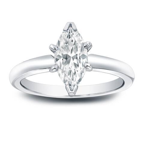 Auriya Platinum 1ct TDW Marquise Solitaire Diamond Engagement Ring
