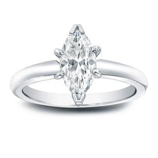 Auriya Platinum 1ct TDW Marquise Diamond Solitaire Engagement Ring