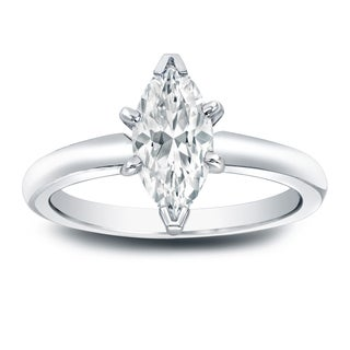 Auriya Platinum 1ct TDW Marquise-Cut Diamond Solitaire Engagement Ring