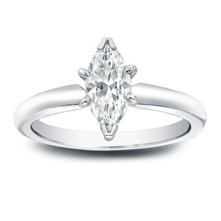 Auriya Platinum 1/2ct TDW Marquise Diamond Solitaire Engagement Ring
