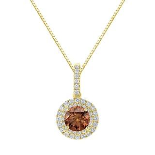 Auriya 14k Gold 2 3/5ct TDW Round Cut Brown Diamond Halo Necklace (Brown, SI2-SI3)
