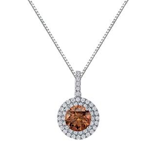 Auriya 14k Gold 3 1/8ct TDW Round Cut Brown Diamond Halo Necklace (Brown, SI2-SI3)