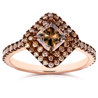 Annello by Kobelli 18k Rose Gold 1 3/4ct TDW Champagne Brown Diamond Double Square Halo Ring