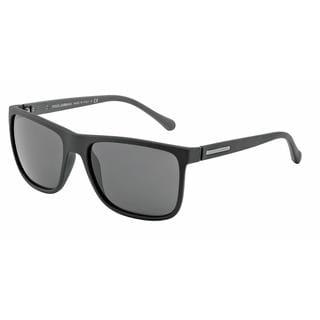Dolce & Gabbana Mens DG6086 OVER-MOLDED RUBEBR 280587 Black Plastic Square Sunglasses