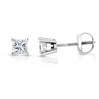 Montebello Jewelry 14k White Gold 1ct TDW Certified Princess-cut White Diamond Stud Earrings (H-I, SI2-I1)