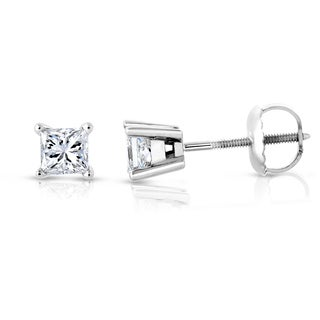 Montebello Jewelry 14k White Gold 1ct TDW Princess-cut White Diamond Stud Earrings