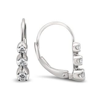 Montebello Jewelry 14k White Gold 1/4ct TDW Graduating Round-cut White Diamond Leverback Earrings (H-I, I1-I2)