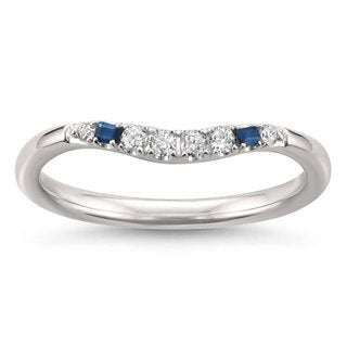 Montebello Jewelry 14k White Gold 1/10ct TDW Diamond and Blue Sapphire Wedding Ring