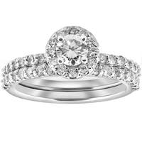14K White Gold 1 cttw Diamond Round Halo Engagement Wedding Ring Set