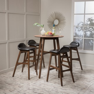 Christopher Knight Home Moria 5-piece Wood Bar Height Dining Set with Faux Leather Cushions