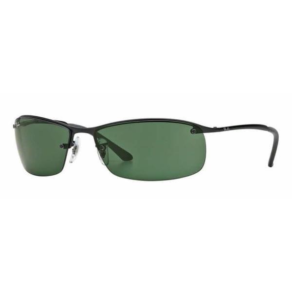 d58d965d332 Shop Ray Ban Mens RB3183 006 71 Black Metal Rectangle Sunglasses ...