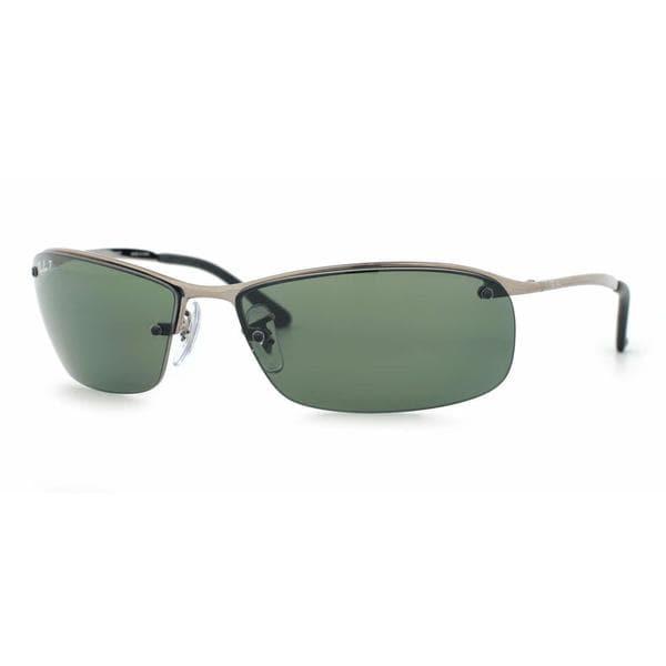 56cfe81c7f8 Shop Ray Ban Mens RB3183 004 9A Gunmetal Metal Rectangle Sunglasses ...