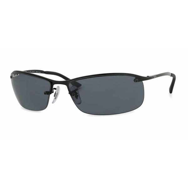 3f6d70eee7 Shop Ray Ban Mens RB3183 002 81 Black Metal Rectangle Sunglasses ...