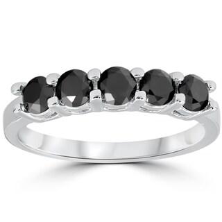 14K White Gold 1 cttw Five Stone Black Diamond Wedding Anniversary Ring