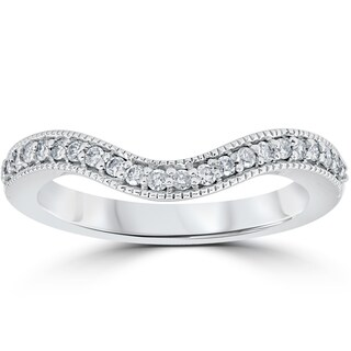 14K White Gold 1/5 ct TDW Curved Diamond Wedding Guard Enhanced Engagement Band (I-J, I2-I3)