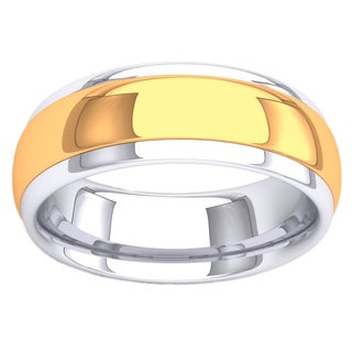 14k Two-tone Gold Men's Comfort-fit Low Dome 8mm Wedding Band