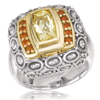 Avanti Sterling Silver and 14K Yellow Gold Emerald Cut Citrine and Yellow Quartz Statement Ring