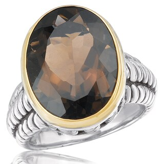 Avanti Sterling Silver and 14K Yellow Gold Oval Smoky Quartz Stament Ring