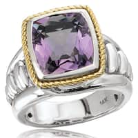 Avanti Sterling Silver and 14K Yellow Gold Cushion Cut Amethyst Center Rope Design Statement Ring