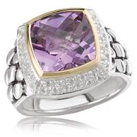 Avanti Palladium Silver and 18K Yellow Gold Cushion Cut Amethyst Center with White Sapphire Pave Halo Statement Ring