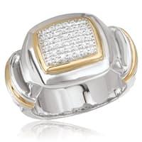 Avanti Palladium Silver and 18K Yellow Gold White Sapphire Pave Set Rectangular Ring