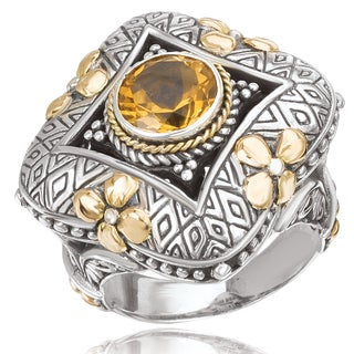 Avanti Sterling Silver and 18K Yellow Gold Round Citrine Center with Ornate Design Statement Ring