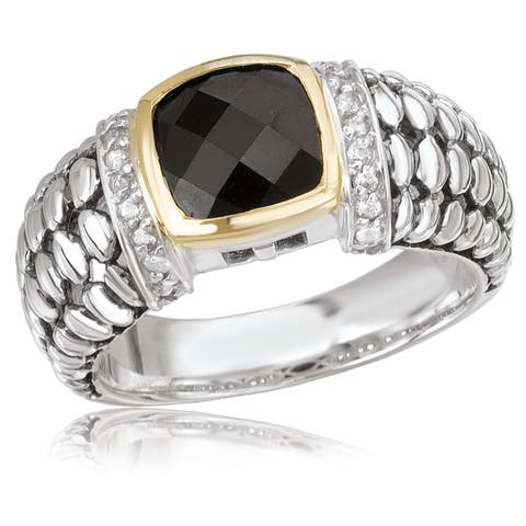 Avanti Sterling Silver and 14K Yellow Gold Cushion Cut Black Onyx Center and Cubic Zirconia Fashion Statement Ring