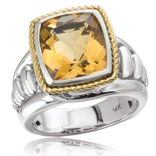 Avanti Sterling Silver and 14K Yellow Gold Cushion Cut Citrine Center Statement Ring