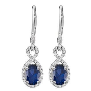 10k Gold 1 5/8ct TGW Oval Blue Sapphire and White Diamond Infinity Dangling Drop Earrings (I-J, I2-I3)