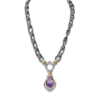 Avanti Palladium Silver and 18K Yellow Gold Amethyst and White Sapphire Pendant with Braided Mesh Chain Necklace