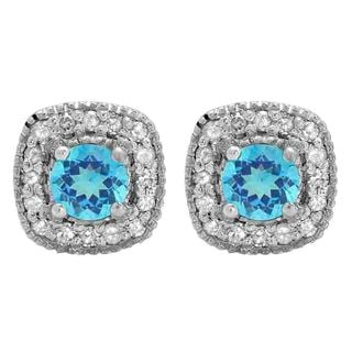 Sterling Silver 3/4ct TGW Round-cut Blue Topaz and White Diamond Halo Stud Earrings (I-J, I2-I3)