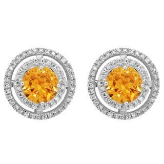 14k White Gold 1 1/5ct TGW Citrine and White Diamond Halo Style Stud Earrings (I-J, I2-I3)