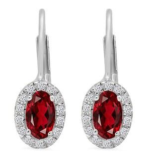 14k Gold 1/2ct Oval-cut Garnet and Round-cut White Diamond Halo Style Hoop Earrings (I-J, I2-I3)