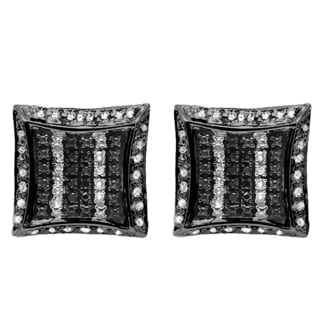 Black over Silver 1/10ct TDW White and Black Diamond Pave Stud Earrings (I-J, I2-I3)