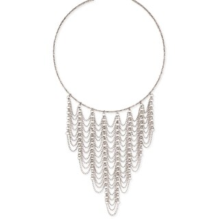 Handmade Silver Beaded Collar with Dainty Chain Draping Bib.
