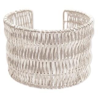 Wide Metal Wire Wrapped Cuff Bracelet
