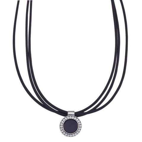 16-inch Nitrile Rubber and Stainless Steel Pendant Necklace - Black