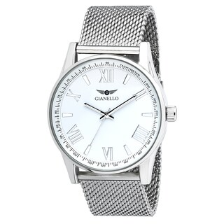 Gianello Stainless Steel Women's White Dial Mesh Watch