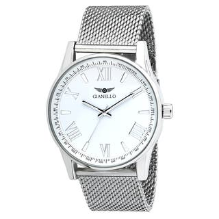 Gianello Stainless Steel Mens White Dial Mesh Watch|https://ak1.ostkcdn.com/images/products/13473732/P20160516.jpg?impolicy=medium