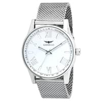 Gianello Stainless Steel Mens White Dial Mesh Watch